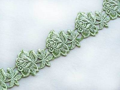 """Iron On Embroidered Trim Hot Fix. 3 Yards Green Floral Green 1½"""" Wide DIY"""