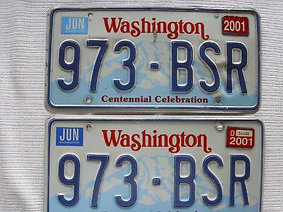 "Set of Washington State License Plates ""973 - BSR"" Centennial Celebration"