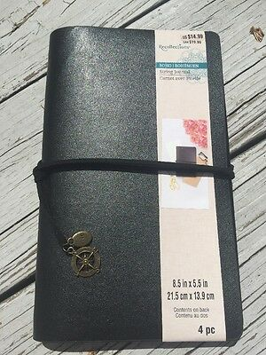 Recollections BOHO String Journal Black Faux Leather Midori Travelers Notebook