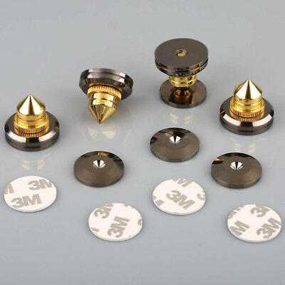 Set 4Pc Speaker Stand CD Amplfier Spike Isolation Feet Solid Brass Cone Isolator
