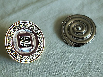 Collectible Scarf Clips Silver Tone Texture Gold Tone Plum Black Enamel NICE