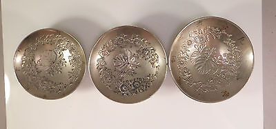 Set of 3 Japanese Silver Metal Sake Cups Paulownia Chrysanthemum Flowers Japan