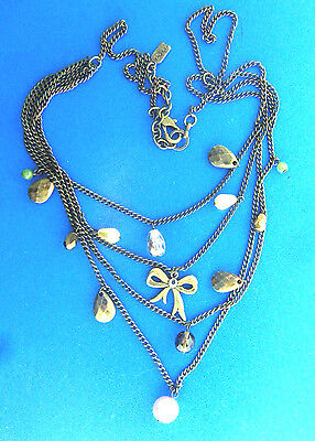 Rachel Necklace Pearl Crystal Brass Bow Chain 3x18