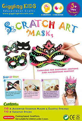 NEW Kids Scratch Art Mask Kit - Pack of 10 (10 designs), au seller