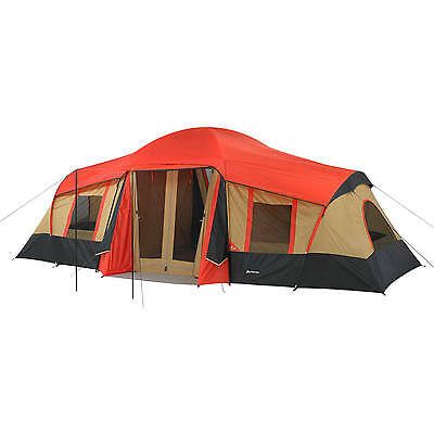 Ozark Trail 10-Person 3-Room Vacation Tent Red with Built-In Mud Mat, All Season