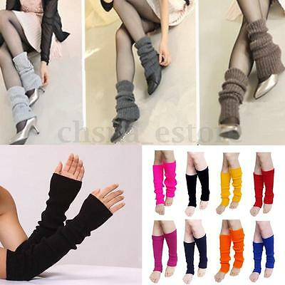 Fashion Crochet Knitted Leg Warmers Knee High Winter Warm Solid Stockings Socks