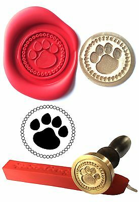 Wax Stamp Seal Set +1 stick Red Wax PAW PRINT Dog Cat Envelope Invite Craft  117