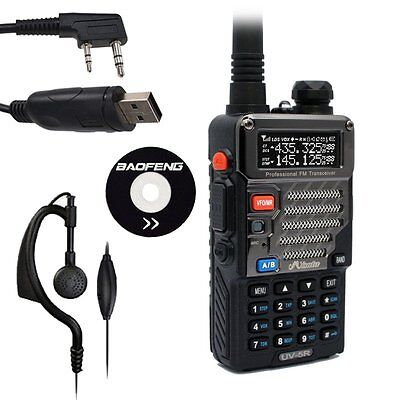 Baofeng / Misuta UV-5R FM Ham Dual Band 2 Way Walkie Talkie Radio + USB Cable UK