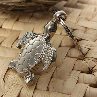 3D Silver Exquisite Textured Sea Turtle Keyring - Metal Keychain Keyfob Key Ring