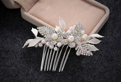 Crystal Bridal Accessories Pearls Wedding Hair Comb Rhinestone Headdress 1 Piece
