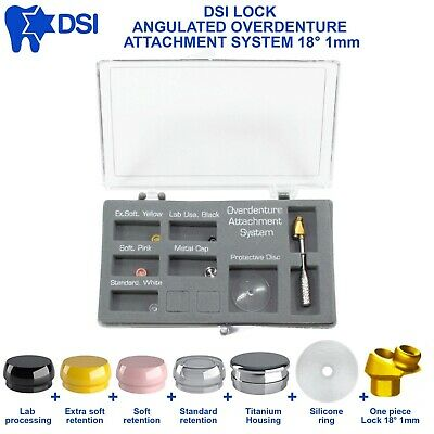 DSI Lock Dental Implant Angulated Attachment Overdenture Abutment Set 18° 1mm