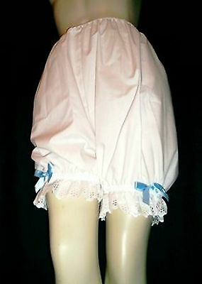 Traditional Victorian Style White Cotton Bloomers with Frill Hem & Bow Trim