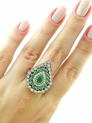 Ottoman Turkish Women Jewelry Antique Sterling Silver Fashion Rings Size 8 R1357