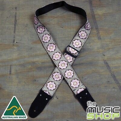 New Colonial Leather Pink Flower Jacquard Webbing Guitar Strap - Australian Made