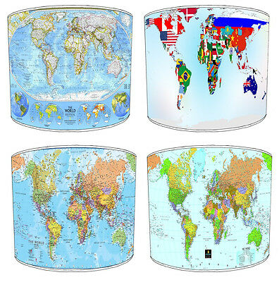 World Map Atlas Design Lampshades Ideal To Match World Map Wall Decals & Sticker