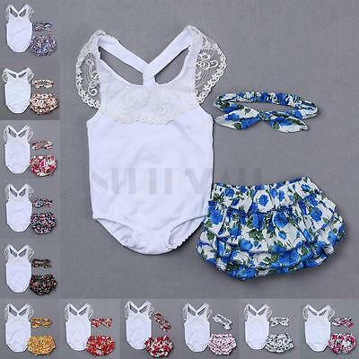 Baby Girls Toddlers Kids 3pcs Romper Lace Bodysuit Headband Pants Outfit Clothes