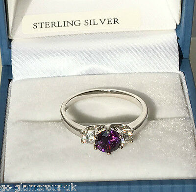 UK Sterling Silver created Amethyst & Diamond Engagement style Ring Sizes K + L