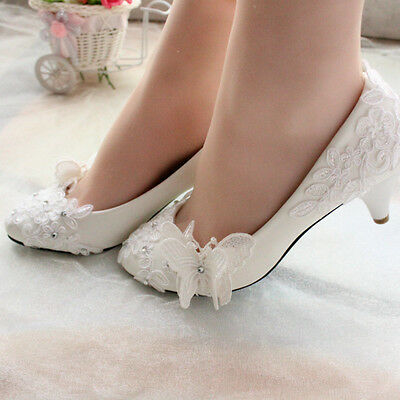 Lace White Crystal Wedding Shoes Bridal Flats Low High Heel Pump Size
