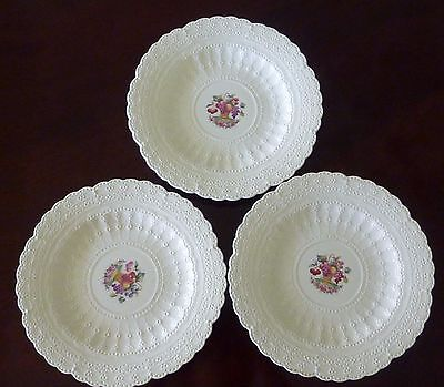 Set Spode Jewel Luncheon Plates Fruit Basket Three 3 Vintage English Lunch Plts