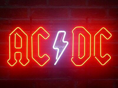 "New AC/DC Neon Sign Bar Game Room Wall Decor Light Larger 24""x14"""