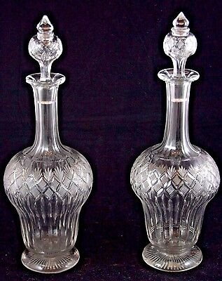 French Cut Crystal Pair of Bottles With Stopper