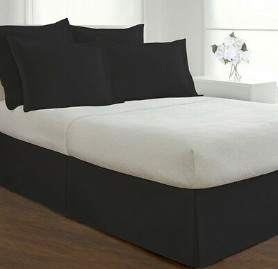 Black Bed Skirt King Size.Straight Black Bed Skirt King Size Tailored Pleated Cotton