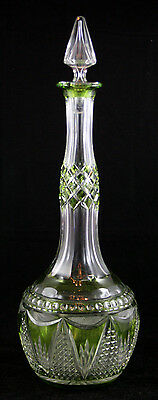 French Cut Crystal Green-Colored Bottle With Stopper