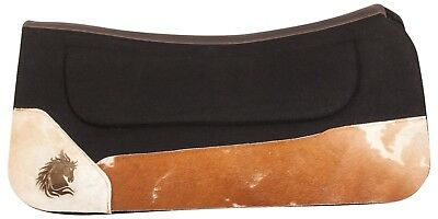 Brown Suede Western Black Wool Felt Leather Wears Ranch Trail Horse Saddle Pad