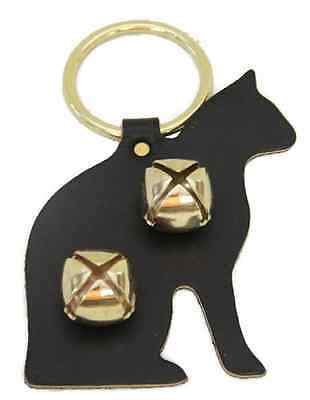 BLACK CAT LEATHER DOOR CHIME w/ SLEIGH BELLS - Amish Handmade in the USA