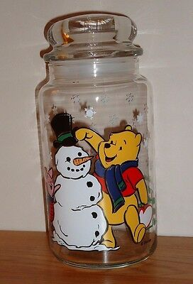 Disney WINNIE THE POOH PIGLET Christmas Snowman Glass Candy Treat Jar w/Lid