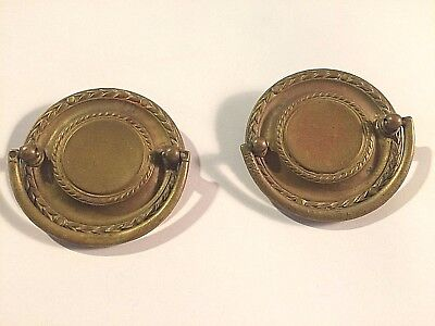 "ANTIQUE Drawer Pulls ROUND BRASS  2.75""    SET OF 2"