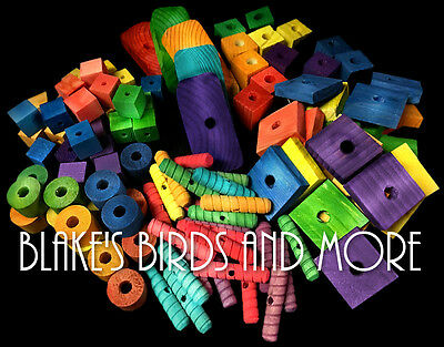 110 PC LARGE /& CHUNKY VARIETY BOX for Xtra Large Birds Bird Toy Parts