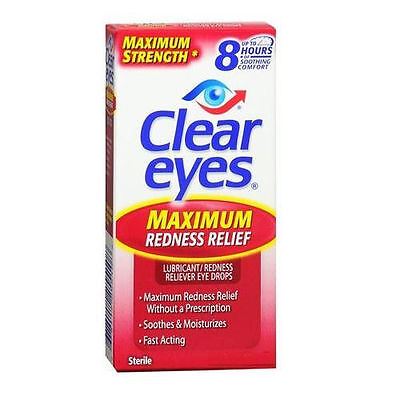 Lot Of 2 Clear Eyes MAXIMUM REDNESS Relief Eye Drops .5oz