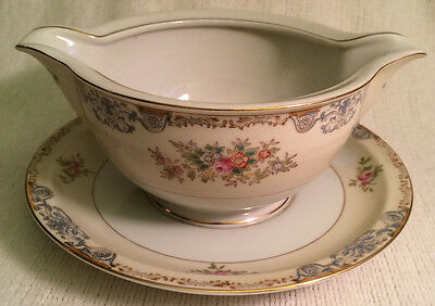 Crown Ivory China Occupied Japan Blue Border Floral Gravy Boat w/ Attached Plate