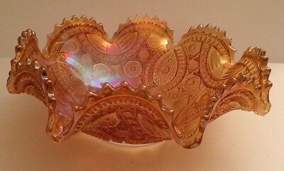 IMPERIAL Glass Co. Marigold Carnival Glass Ruffled Bowl Long Hobstar Pattern
