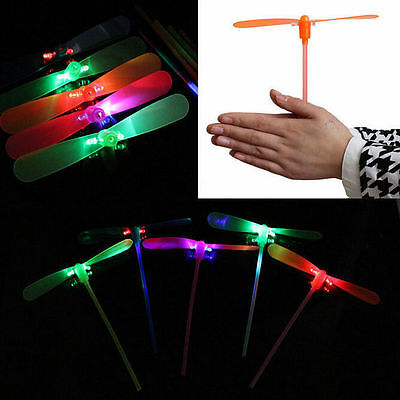 2Pcs LED Flying Dragonfly Helicopter Boomerang Frisbee flash Child Toy Gift