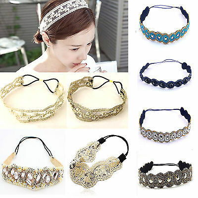 New Fashion Womens Crystal Lace Elastic Headband Hairband Head Wrap Accessories