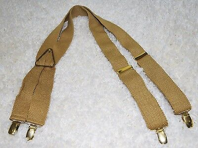 Vintage 50's CAS WEST GERMANY Men's Gold Tan Braces Suspenders  Gold Tone Clips