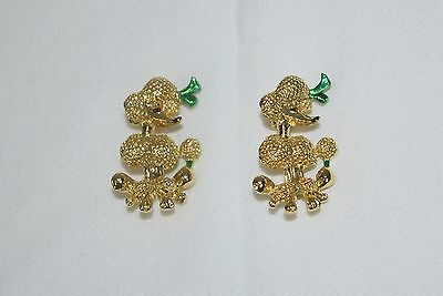 Vintage 50's Pair Duette Matching Gold Tone Enamel French Poodle Pins Brooch