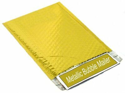 "Gold Metallic 9"" x 11.5"" Glamour Bubble Mailers Envelope Bags 100 Pcs"