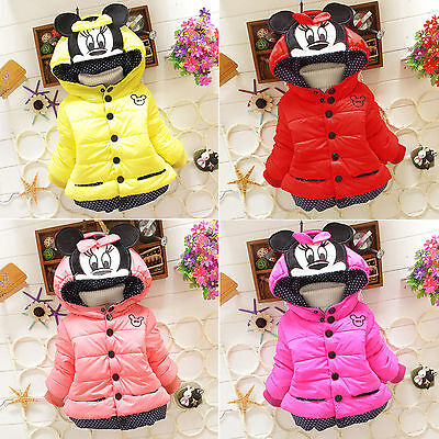 Kids Girl Warm Winter Padded Coat Mickey Hooded Outwear Jacket Snowsuit Age 1-5Y