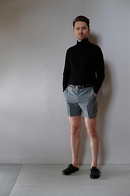 Vintage retro true 60s unused S 4 32 R grey pinstripe mens bermuda shorts NOS