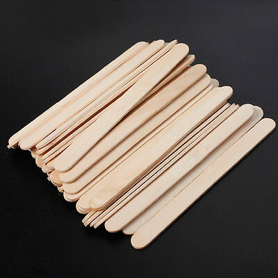 50Pcs Wooden Popsicle Sticks Natural for Party Kids DIY Crafts Ice Cream Pop