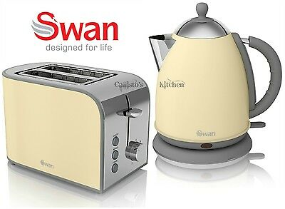 Swan Kettle and Toaster Set 1.7L 3kW Cream Kettle & Retro 2 Slice Toaster New
