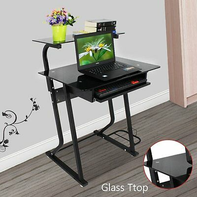 Tempered Glass Computer PC Desk Shelves&Sliding Keyboard Furniture Home Office