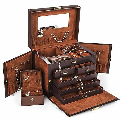 Shining Image Brown LEATHER JEWELRY BOX / CASE / STORAGE / ORGANIZER WITH TRA...
