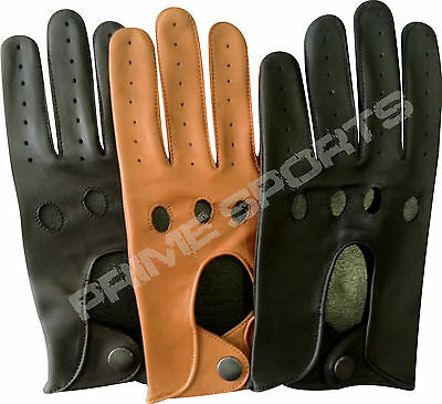 BNIP TOP QUALITY REAL SOFT LEATHER MENS DRIVING GLOVES BLACK BROWN TAN- Amman1