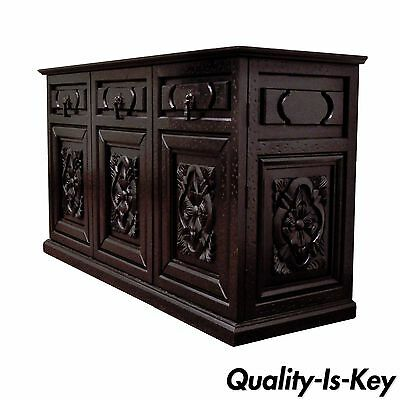 Vintage Rustic Style Carved Wood Distressed Black Sideboard Credenza Cabinet
