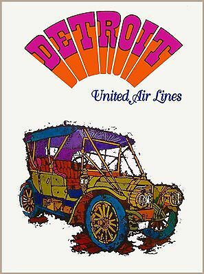 Detroit The Motor City by Airplane United States Travel Advertisement Poster