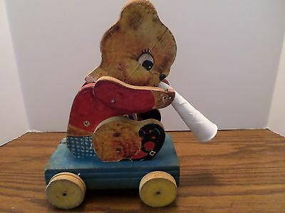 Fisher Price 1957 Teddy Tooter #712 All Wood Plastic Horn